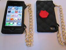 Black Cliche Purse Style Silicone iphone 4 4G 4S Full Back Protective Case NEW