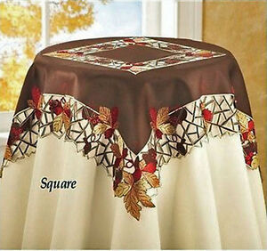 """Thanksgiving Fall Tablecloth Topper 34"""" x 34"""" Cutwork Embroidered Brown"""