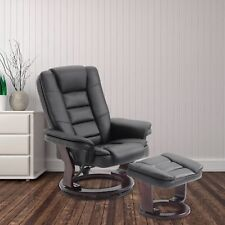 Recliner Chair and Ottoman Swivel Lounge Leisure Leather Living Room Furniture