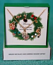 AVON WREATH NECKLACE & 4 Pc.  EARRING HOLIDAY SET