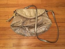 Juicy Couture Designer Gold Metallic Leopard Traveler Crossbody Handbag Purse