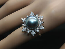 BJ13 Genuine  Freshwater Cultured  Black Pearl  Sterling Silver Ring