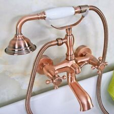 Antique Red Copper Brass Wall Mounted Bathroom Clawfoot Tub Faucet Taps yna340