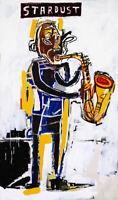 "Jean Michel Basquiat Print on Canvas Abstract art decor sale Stardust 24x48"""