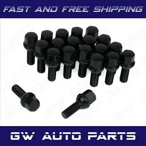 """20 Black 14x1.5 Ball Seat Lug Bolts 33mm 1.3"""" Shank Fit Volkswagen Volvo Porsche"""