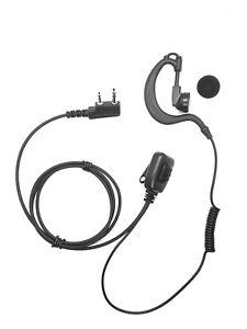 ICOM Radio 2 Pin G Shape Straight Soft Earpiece Headset With HQ PTT Mic 02A E90