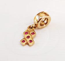 "Genuine Pandora Gold Charm ""Dangle Ribbon Pink Sapphire"" - 750342PSA - retired"