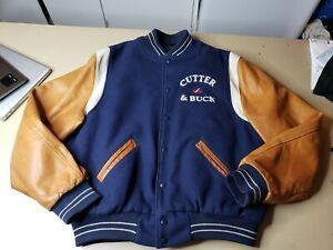 Mens Dehen 1920 Wool Leather Varsity Jacket Large USA Made