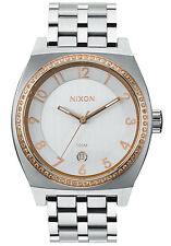 NIXON 40mm MONOPOLY Silver/Champagne Crystal Ladies Watch A325 1519-00 NEW $250