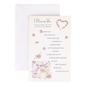 Romance Greeting Card for Anyone - I Promise You words from - Deluxe, Tipped In