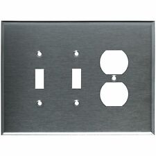 Wall Switch Plate Cover Oversized Stainless Steel 3-Gang 2 Toggle 1 Duplex