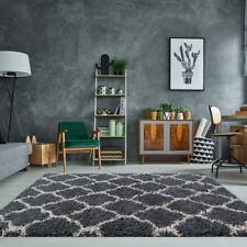 "Trendy Grey Charcoal Soft Bedroom Living Dining Room Shaggy Rug Trellis Non Shed Rug6 60cmx240cm (2ft X 7ft 10"")"