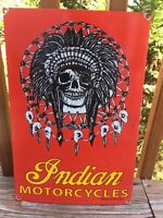 "Vintage Indian Motorcycles Skull Heavy Porcelain Sign 19""x13"" Gas & Oil Sign"