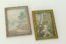 Lot 2 Vintage Art DECO Wood Photo Frames Carved Wooden Antique Boho Gallery Wall