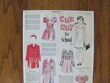 1946 Cut-Out For School Polly Paper doll Set Repro