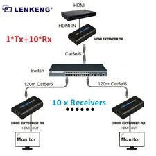 1 Sender 10 Receivers 120m HDMI Network Extender Over Ethernet LAN RJ45 CAT5E/6