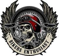 Motorcycle Skull Sticker For Helmet Tank Or Carry Case, Fits Laptops Ipads sk1