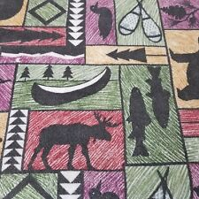 Vintage Blanket Rustic Cabin Lodge Decor Bear Elk Trout Snow Shoes Large USA