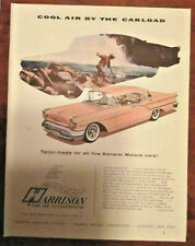 Harrison auto air condition print ad 1957 art retro 1950s vintage illus. GM cars