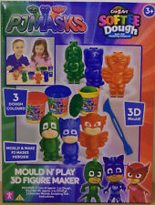 PJ Masks ~ Mould & Play 3D Figure Maker ~ Inc 3 Dough Colours