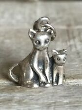 925 Sterling Silver Momma Cat & Kitten Charm Signed