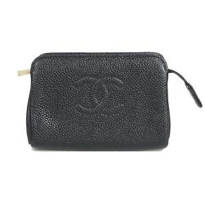 Auth CHANEL CC Coco Logos Caviarskin Leather Pouch Mini Bag Black 19596bkac