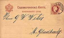 Graslitz, Correspondenz-Karte nach Mönchengladbach, 1883