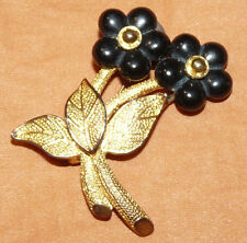 Vintage Gold Tone Black Lucite Flowers Brooch/Pin  F106