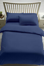 Plain Duvet Cover Quilt Set PillowCases Or Fitted Sheet Single Double King