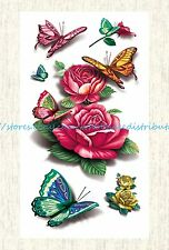 US SELLER, rose butterfly temporary tattoo temporary tatoos