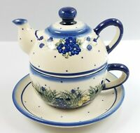 Unikat Personal Teapot Set Boleslawiec Polish Pottery Mini Teapot, Cup & Saucer