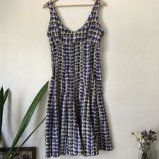Cacharel Women's Sleeveless Sun Dress Brown Ivory Purple Floral Print Open Back
