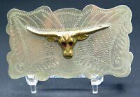 Texas Longhorn Steer Head Western Ornate Scroll Cowboy Vintage Belt Buckle