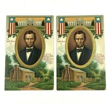 Abraham Lincoln Log Cabin The White House C Chapman Postcard Lot of 2
