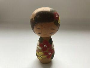 Japanese Wooden Traditional Kokeshi Doll Vintage Signed Okimono Interior S0167