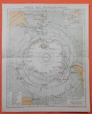 Karte der Südpolarländer 1895 Victoria Land   Expeditionen Treibeisgrenze