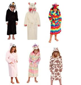 Boys Girls Fox Character Animal Dressing Gown Hooded Robe Warm Gift Size 2-3