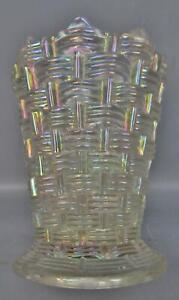 8076 Dugan BIG BASKETWEAVE White Carnival Glass Unswung Vase SHELFER