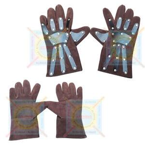 Medieval Leather Gloves Knights Templar Gauntlets Crusader Hand Gloves Brown