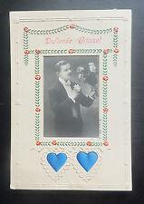 AK Duftkarte duftende Grüße 2 Herzen Mann Kavalier mit Blumen gel. 1913