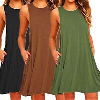 Womens Boho Summer Sundress Sleeveless Short Mini Dress Beach Party Dresses