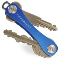 KeySmart Compact Key Holder Organiser Pocket Size Ring Holds 2 to 10 Keys - Blue