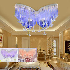 Luxurious Butterfly Crystal Ceiling Lamp Fixture Pendant Light Flush Chandelier