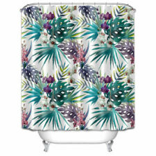 Tropical Flowers Plants Polyester Fabric Shower Curtain Liner Bathroom 12 Hooks