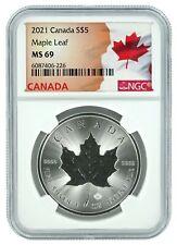 2021 Canada 1oz Silver Maple Leaf NGC MS69 - Flag Label