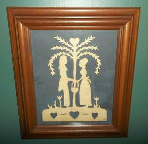 Vtg Handcrafted Paper Cutting Scherenschnitte Man & Woman Tree Hearts Calico