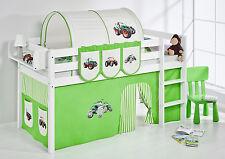 Juego de cama Alta Cuna JELLE 190x90 cm blanco lilokids Tractor Verde