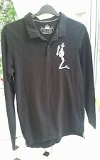"RELIGION ~ MENS LONG SLEEVED POLO TOP - SIZE SMALL - VGC - 38"" CHEST - BLACK"