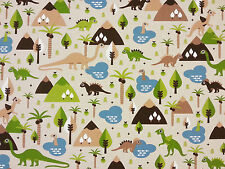 HAPPY DINOSAURS LINEN T40 CHILDRENS CURTAIN DRESSMAKING CRAFT FABRIC DINO