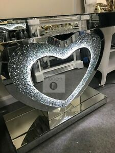 Mirrored crushed crystal LED love heart console table, silver mirror side table